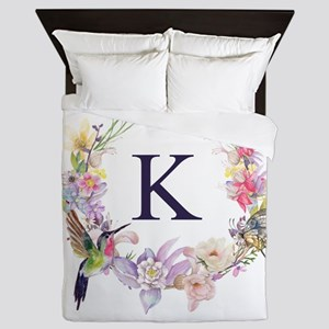 Hummingbird Floral Wreath Monogram Queen Duvet