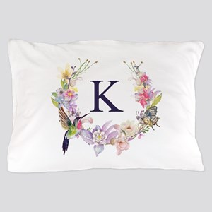 Hummingbird Floral Wreath Monogram Pillow Case