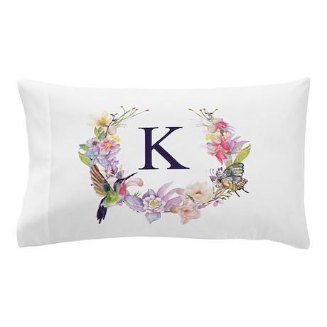 Charmant Hummingbird Floral Wreath Monogram Pillow Case