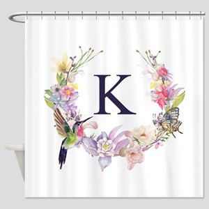 Hummingbird Floral Wreath Monogram Shower Curtain