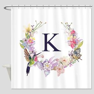 Hummingbird Floral Wreath Monogram Shower Curtain