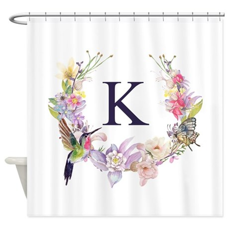 Superbe Hummingbird Floral Wreath Monogram Shower Curtain