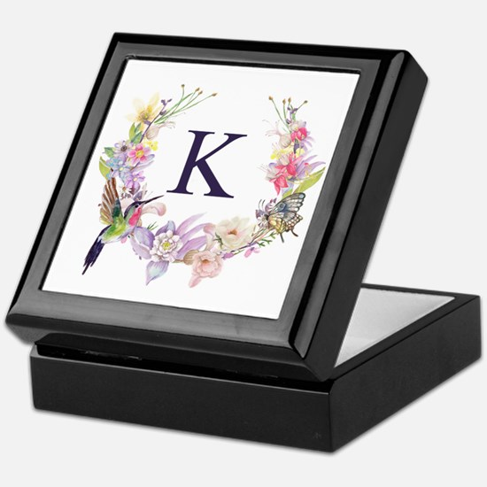 Hummingbird Floral Wreath Monogram Keepsake Box