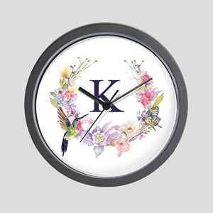 Hummingbird Floral Wreath Monogram Wall Clock