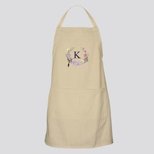 Hummingbird Floral Wreath Monogram Light Apron