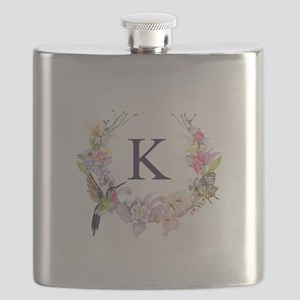 Hummingbird Floral Wreath Monogram Flask