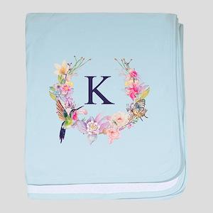 Hummingbird Floral Wreath Monogram baby blanket