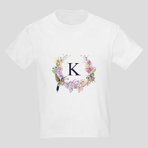 Hummingbird Floral Wreath Monogram T-Shirt