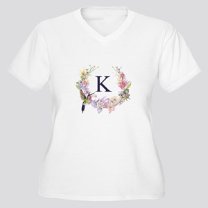 Hummingbird Floral Wreath Monogram Plus Size T-Shi