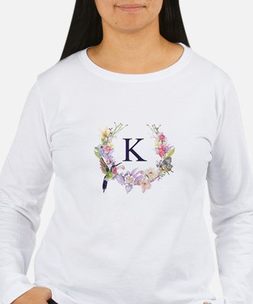 Hummingbird Floral Wreath Monogram Long Sleeve T-S