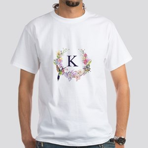 Hummingbird Floral Wreath Monogram T-Shirt