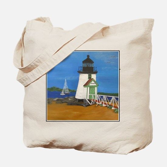 Hand Painted Brant Point Light House Tote Bag