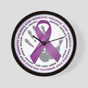 Stop Domestic Violence Ribbon Wall Clock