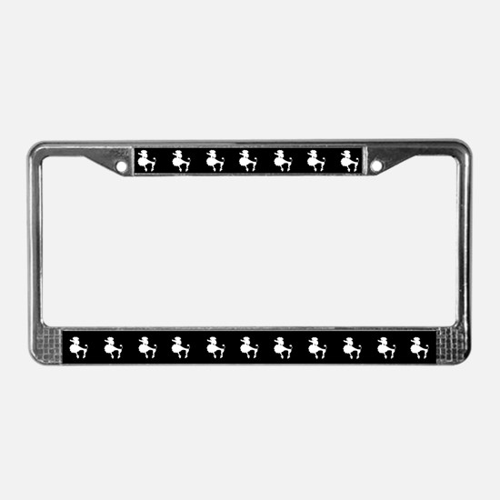 Retro Poodle License Plate Frame