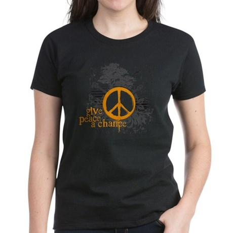 Give Peace Scene - Orange Women's Dark T-Shirt