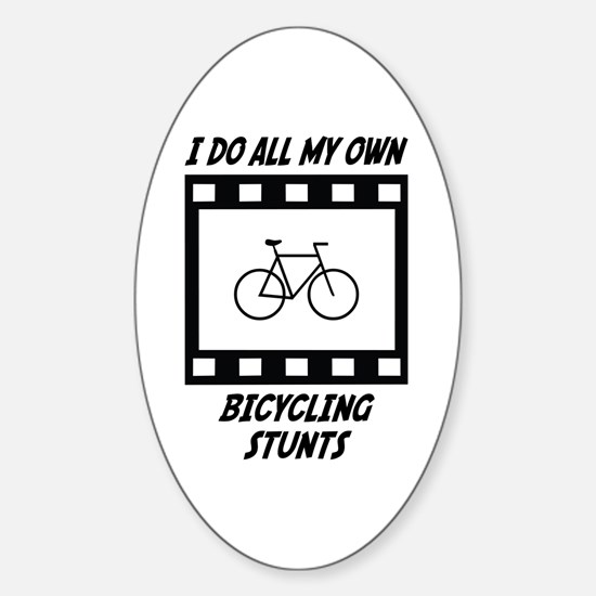 Bicycling Stunts Oval Decal