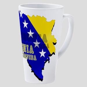 Flag Map Of Bosnia 17 Oz Latte Mug