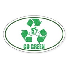 Go Green Cycling Washed Oval Sticker