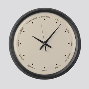 Gaelic Irish Numbers and Stars Large Wall Clock