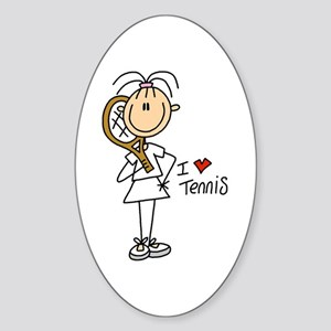 Girl I Love Tennis Oval Sticker