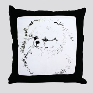 Pom Head 3 blk.&wh. Throw Pillow