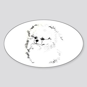 Pom Head 3 blk.&wh. Oval Sticker