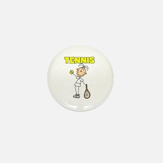 TENNIS Girl Stick Figure Mini Button