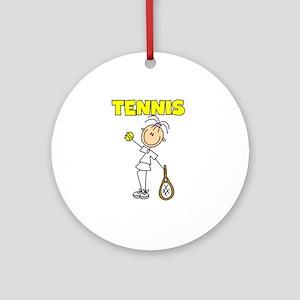 TENNIS Girl Stick Figure Ornament (Round)