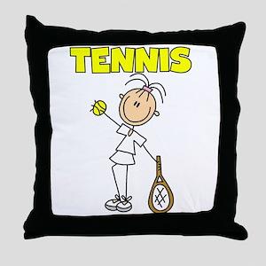 TENNIS Girl Stick Figure Throw Pillow