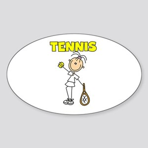 TENNIS Girl Stick Figure Oval Sticker