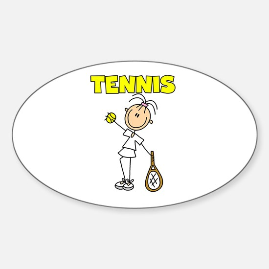 TENNIS Girl Stick Figure Oval Decal