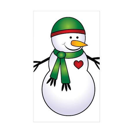 Heart Snowman Rectangle Sticker 50 pk)