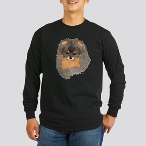 Pom Blk & Tan Headstudy Long Sleeve Dark T-Shirt
