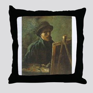 Self Portrait with Easel Throw Pillow