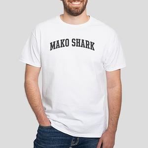Mako Shark (curve-grey) White T-Shirt