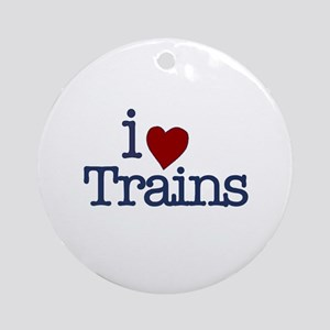 I Love Trains Ornament (Round)