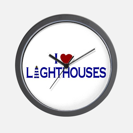 I Love Lighthouses (new) Wall Clock