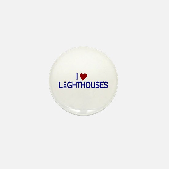 I Love Lighthouses (new) Mini Button