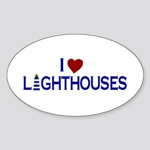 I Love Lighthouses (new) Oval Sticker