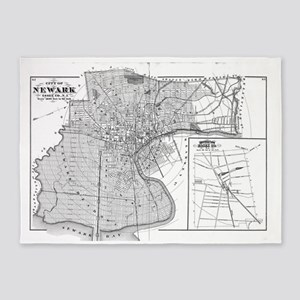 Vintage Map of Newark NJ (1872) BW 5'x7'Area Rug