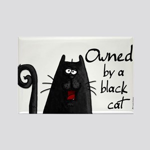 owned by a black cat Rectangle Magnet