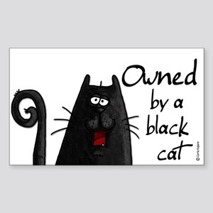 owned by a black cat Rectangle Sticker