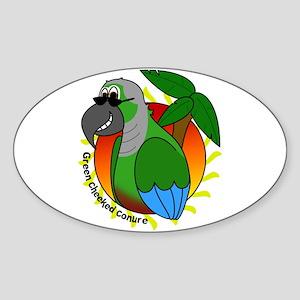 Cartoon Green Cheek Conure Oval Sticker