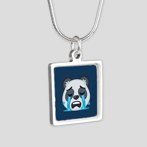Crying Panda Emoji Silver Square Necklace