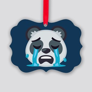 Crying Panda Emoji Picture Ornament