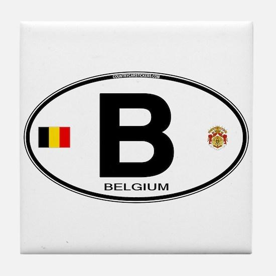 Belgium Euro Oval Tile Coaster