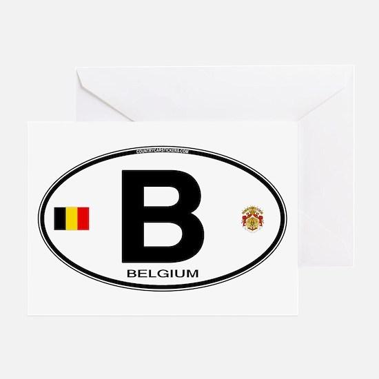 Belgium Euro Oval Greeting Card