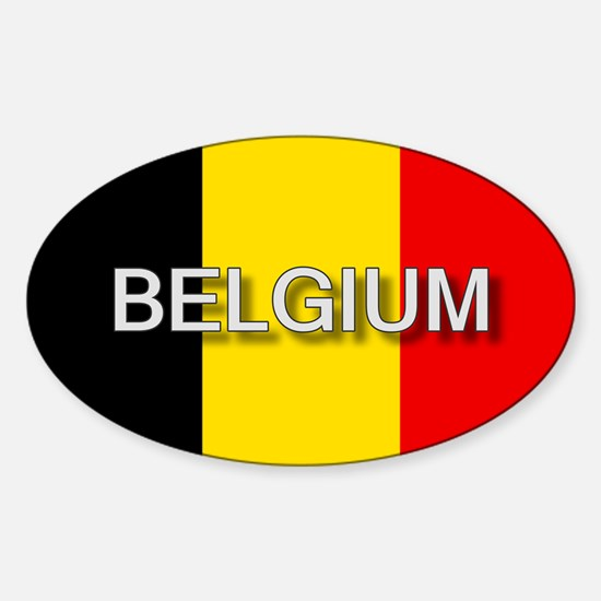 Belgium Flag with Label Oval Decal