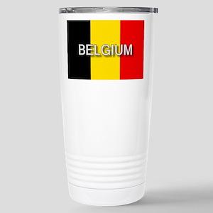 Belgium Flag with Label Stainless Steel Travel Mug