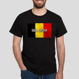 Belgium Flag with Label Dark T-Shirt